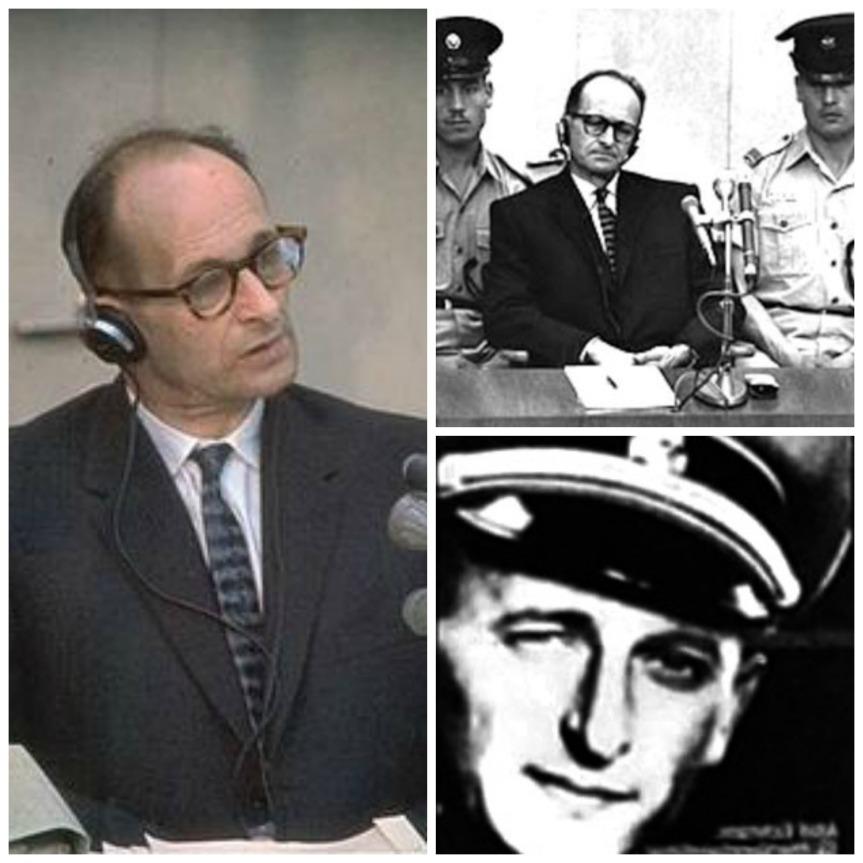 Adolf Eichmann durante el juicio (1960). Adolf Eichmann (1942).