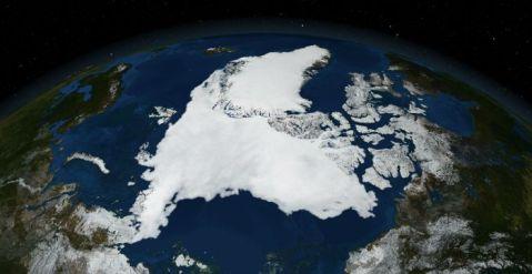 Mapa satélite del Ártico.